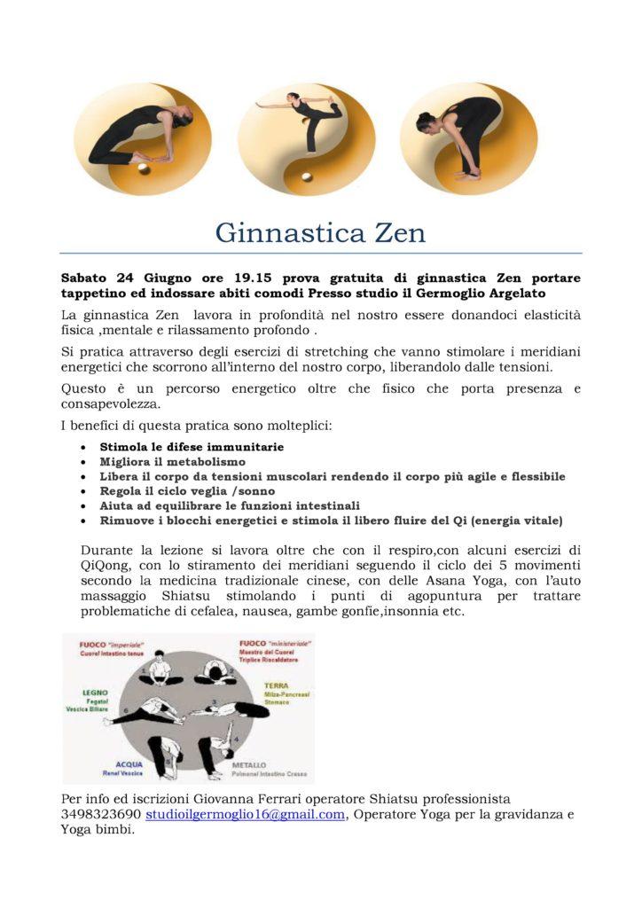 Ginnastica Zen Sabato 24 Giugno ore 19.15 prova gratuita